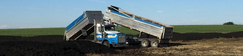 Biosolids are stockpiled prior to the fertilization of marginal agricultural soils in Alberta.